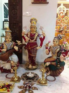 Navaratri pujas and homas invoke the ultimate primordial force Goddess Adi Shakti Navratri Puja, Ganapati Decoration, Sai Baba Wallpapers, Bal Krishna, Pooja Room Design, Lord Shiva Family, Wedding Doll, Indian Dolls, Durga Goddess