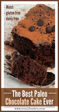 The Best Paleo Chocolate Cake Ever. Moist and fluffy just like regular chocolate cake! However, it's gluten-free, dairy-free, sugar-free, full of protein, and delicious! realfoodrn.com #chocolatecake #paleocake
