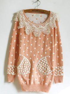 Sweet Lace Doll Collar Polka Dot Orange Sweater  $44.00