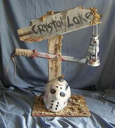 Friday the 13th Crystal Lake Jason Voorhees display, handcrafted