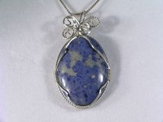 Wire Wrapped Pendants for Sale | Dumortierite wrapped in Argentium* STERLING SILVER WIRE