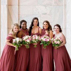 tie it tuesday • this gorgeous bridal party crushed the tieittuesday game! same dress, multiple, personalized styles. our Mira jycmira Dress in Cinnamon Rose // photo by christianoth // rg lovestruckevents jennyyoo jennyyoobridesmaids realbridesmaids convertibledress jennyyoocollection jennyyoonyc