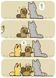 You already know A had my heart first. Cute Kawaii Animals, Kawaii Cute, Kawaii Chibi, Kawaii Anime, Short Comics, Racoon, Cute Comics, Vintage Comics, Cute Faces