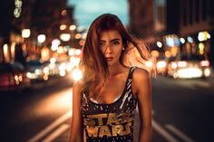 The bustling street at night makes a very good mood, but it's not completely dark and the color contrast enhances the photo Urban Photography, People Photography, Night Photography, Street Photography, Portrait Photography, Fashion Photography, Night Portrait, Street Portrait, Outdoor Portraits