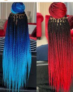 Blue Box Braids, Colored Box Braids, Box Braid Wig, Black Girl Braids, Braids Wig, Braids For Black Hair, Tree Braids, Box Braids Hairstyles For Black Women, Braids Hairstyles Pictures