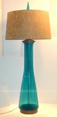 Turquoise Blenko Lamp.
