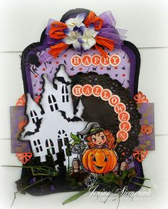 Jenine's Card Ideas: DDBD Shape Art Label - Happy Halloween