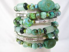Turquoise and Sage Picasso Wrap Bracelet Memory by bohosoulsister
