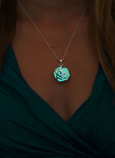 Rose Necklace - Glow in the Dark Necklace - Glow in the Dark Jewelry - Glowing Rose Necklace - Silver Rose Pendant - Flower - Gifts for Her