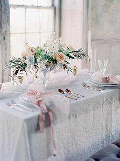 Elegant Rose Gold and Crystal Wedding Decor with Blush Flowers