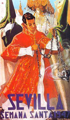 """Cartel 1947 . Autor Semana Santa: Tomás Ruiz Vela """"Dalmática"""" Dimensiones: 62 x 100cm/ 10.000 ejemplares Litografía: Antonio Anel (Granada)"""