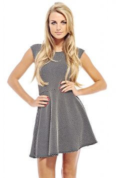 Dotted Fit And Flare Dress shopmodmint.com