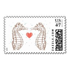 Seahorse Heart Love Wedding Postage Stamps by citlali creativo