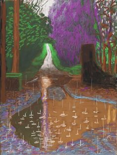 David Hockney The Arrival of Spring in Woldgate, East Yorkshire in 2011 (twenty eleven) - 18 December iPad drawing printed on four sheets of paper, mounted on four sheets of Dibond 96 x 72 in. x 183 cm) framed Edition of 10 Private collections David Hockney Artwork, David Hockney Landscapes, David Hockney Ipad, Landscape Art, Landscape Paintings, Gravure Illustration, Pop Art Movement, Van Gogh Museum, Spirituality