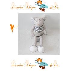 Doudou Souris BUROMAC BABY FOLLY grise 25 cm