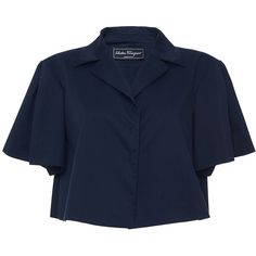 Salvatore Ferragamo     Flounce Sleeve Cropped Jacket (66,690 PHP) via Polyvore featuring outerwear, jackets, navy, blue cropped jacket, navy blue jackets, short cropped jacket, blue jackets and navy cropped jacket