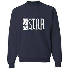 Medium Navy Adult Star Labs Sweatshirt Crewneck ❤ liked on Polyvore