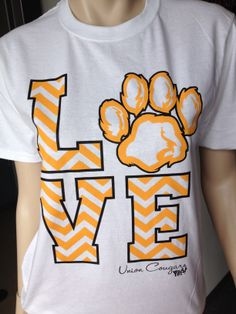 One of our best selling designs - the LOVE chevron print with your mascot! You choose the shirt, the colors and the mascot! Cheer Shirts, Dance Shirts, Vinyl Shirts, School Spirit Wear, School Spirit Shirts, Cheer Camp, Cheer Coaches, Cheers, School Shirt Designs
