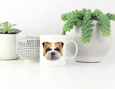 English Bulldog Custom Dog Coffee Mug. by TheWooftique on Etsy