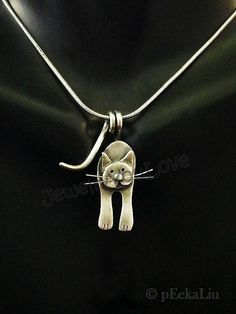 Sterling Silver Cat Necklace Cosmos