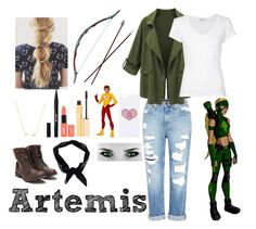 """""""Artemis(Young Justice)"""" by rhianna-shirley ❤ liked on Polyvore featuring Genetic Denim, James Perse, Wanderlust + Co, Bow & Arrow, Quiksilver, Stila, Topshop and Boohoo"""