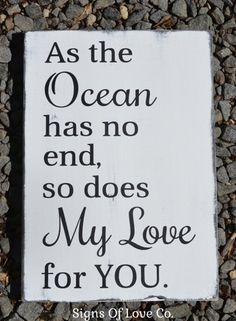 Beach Sign Nautical Nursery Decor Weddings Ocean Love Quote Wood Quote