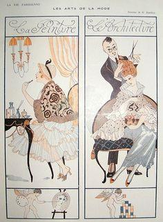 La Vie Parisienne Art Deco Print 1916 Hairdressing, Barbier