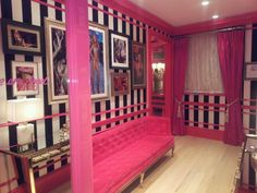 Victoria's Secret London . . . Exactly what I want my house to look like!! Black & white stripes + hot pink velvet drapes + hot pink tufted furniture + hot pink trim/doors + huuuge black & white pictures!! Yayyy!!