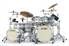 #Tama Starclassic Bubinga #Drums : Silver Snow Racing Stripe