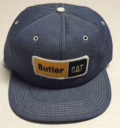 Vtg Caterpillar Snapback Hat Denim Made in the USA Butler Machinery Tonkin CAT #Tonkin #BaseballCap