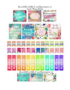 Free Printable Watercolor Planner stickers - Love these for getting organized in style! Free Printable Art, Printable Planner Stickers, Free Printables, Diy Stickers, Planner Sheets, Planner Pages, Free Planner, Happy Planner, Free Erin Condren