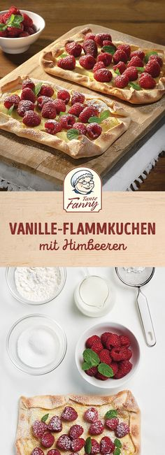Vanilla Tarte with raspberries- Vanille-Flammkuchen mit Himbeeren freshness from the garden or from the market? Then off to this Mhhhhmmm! Tart Recipes, Sweets Recipes, Baby Food Recipes, Dessert Simple, No Cook Desserts, Easy Desserts, Mug Cakes, Raspberry Desserts, Boston Cream Pie