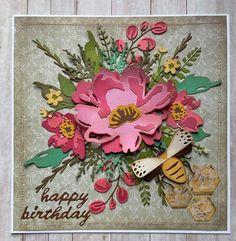 Scrapbook Paper Crafts, Scrapbook Cards, Scrapbooking, Tim Holtz Dies, Square Card, Handmade Birthday Cards, Card Maker, Flower Cards, Homemade Cards