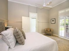 remember my recent post on the perfect Queenslander? Well I have a little update I think you might like. Last year, I was enjoying m. Relaxing Bedroom, Interior, New Homes, White Rooms, House Colors, White Paneling, Old Style House, House Interior, Cottage Renovation