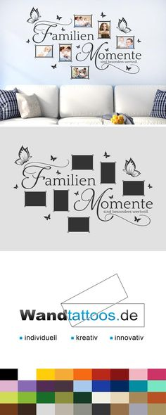 Wandtattoo Family moments are valuable photo frames as an idea for individual wall design. Simply select your favorite color and size. More creative suggestions from Wandtattoos.de discover here! Tiny Living Rooms, Small Living, Interior Design Living Room, Family Room Decorating, Interior Decorating, Shutters Inside, Plexiglass Table, Coffee Room, Create A Family