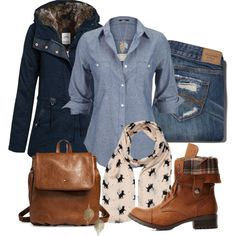 Cute winter outfit. Chambray shirt. Military boots.