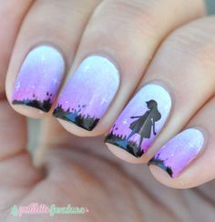 Picture polish sky gradient nails with silhouette nail art