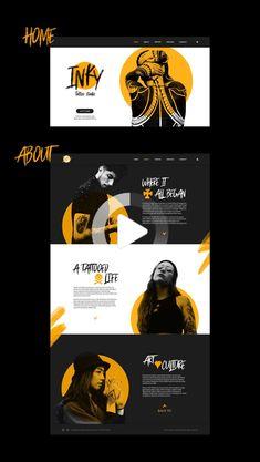 Inky Tattoo Studio Web design on Behance #webdesign Website Design Layout, Website Design Inspiration, Graphic Design Inspiration, Layout Design, Ux Design, Media Design, Page Design, Creative Web Design, Graphic Design Brochure