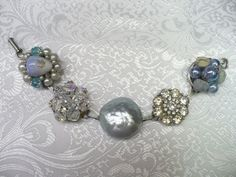 Vintage Earring Bracelet  blue beads  by ElegantiTesori on Etsy, $39.99
