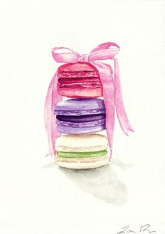 SALE Macarons Tied with a Pink Bow ORIGINAL von LauraRowStudio
