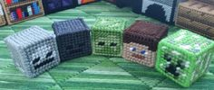 Minecraft mob heads in plastic canvas. Free patterns at www.yarngames.com