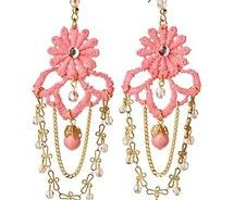 Creative inspiration-lace earrings with pearls and chain. So blingy!