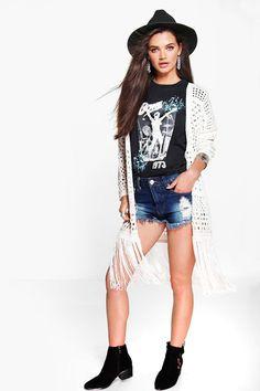 Paige Long Crochet Tassel Cardigan