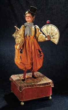 "A wonderful French musical automaton ""The Clown with Fan and Ball"" by Roullet Decamps. When wound, two musical tunes play, and a series of eight animations occur. The theme may reference a particular clown act popular during the time era. Circa 1900."