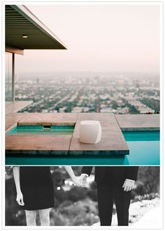 outdoor pool engagement shoot