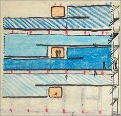 Esquema unidad habitacional conjunto marsella -  Le Corbusier