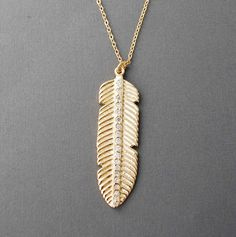 Long Bohemian Feather Necklace with CZ's by jennijewel on Etsy, $50.00