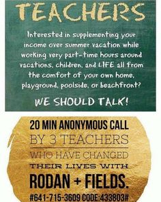 ✨ TEACHERS ✨ Summer is almost here! It is a great time to look into Rodan + Fields! A little side gig you can start over the summer and grow into a life changing business if you choose! Work from home, the pool, the beach, vacation, backyard or deck while watching your kids play! Wifi and a dream is all you need!! Now is the best time to get started! Let me show you how!   www.barbaramccarty.myrandf.biz
