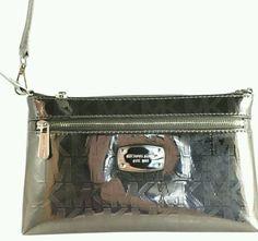 NWT Michael Kors LARGE Jet Set Nickel / silver Wristlet wallet bag NEW MK