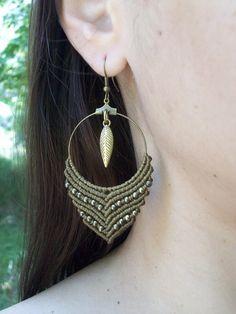 Macrame hoop earrings boho earrings gipsy hoops boho